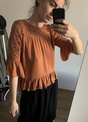 Бохо стиль блуза кофта h&m хиппи ажурный верх прозрачный топ жатка три четверти