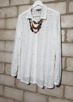 Гипюровая ажурная белая блуза