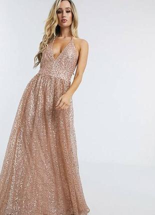 Шикарное вечернее платье макси в пол с блестками с фатином