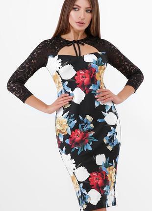 Платье с цветочным принтом пионы