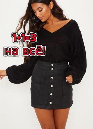 🎁1+1=3 фирменная серо-черная джинсовая юбка карандаш на пуговицах tu, размер 48 - 50