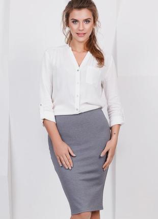 🎁1+1=3 стильная базовая серая юбка 20% шерсть - карандаш по колено, размер 46 - 48