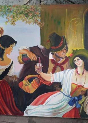 Картина цыгане октябрьский праздник в риме орлов антиквариат ретро ссср холст к