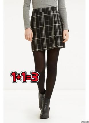 🎁1+1=3 модная короткая черная юбка в клетку oasis, размер 46 - 48