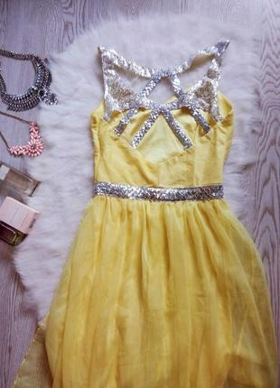 Желтое вечернее платье в пол серебристыми пайетка открытой спиной шифон длинное блестящее
