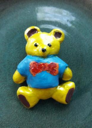 Брошь брошка мишка керамика хенд мейд