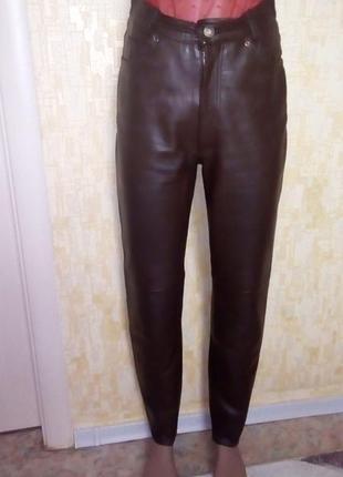 Мягкие 100% кожаные джинсы шоколадного цвета/ кожаные брюки/штаны/скини/джинсы