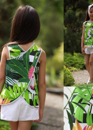 Топ для девочки пальмовыми листьями, майка для девочки цветочные принт листья, топ детский