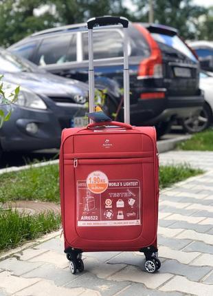 Ультра легкий! красный текстильный/ тканевый чемодан ручная кладь франция /валіза1 фото