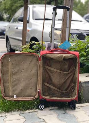Ультра легкий! красный текстильный/ тканевый чемодан ручная кладь франция /валіза3 фото