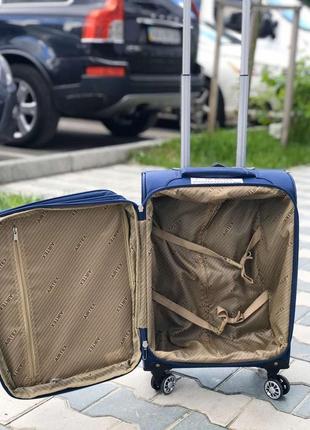Ульра легкий! текстильный синий чемодан для ручной кладь франция4 фото