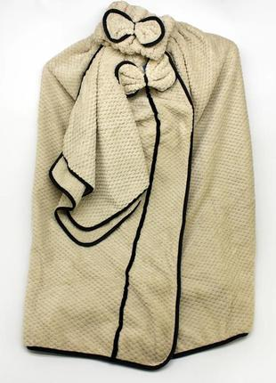 Набор банный женский с бантом микрофибра полотенце-халат + полотенце + повязка на голову