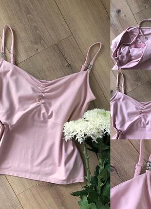 Ніжно рожева майка з топом знизу