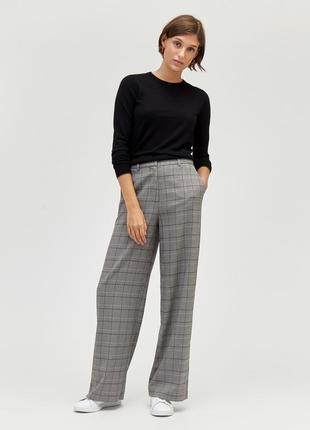 Крутые широкие брюки клетка штаны палаццо в деловом стиле