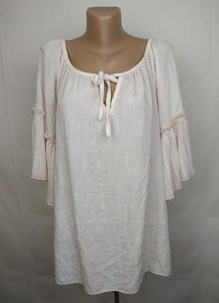 Блуза рубаха льняная итальянская шикарная uk 16-18
