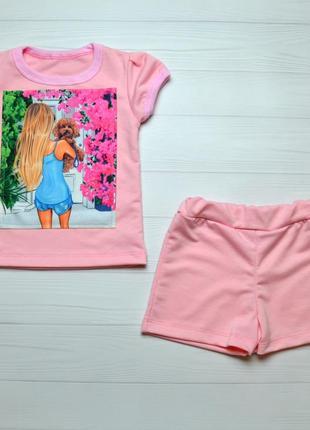 Летний костюм на девчку шорты-футболка 1-4 лет