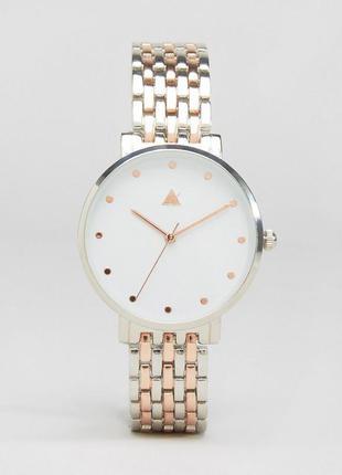 Часы бойфренда из серебристого с золотисто-розовым металла asos