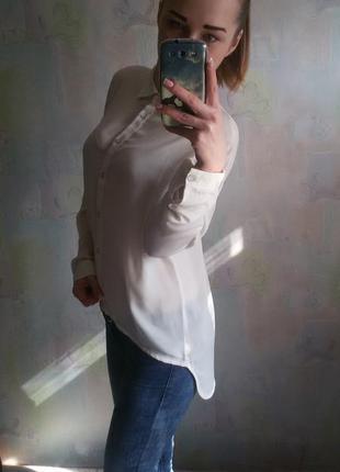 Блузка рубашка удлиненная сзади