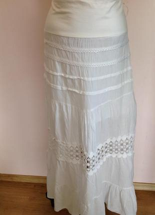 Бутиковая итальянская котоновая длинная юбка /s- m/