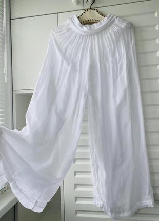Шёлковые штаны для беременной легкие летние широкие штаны xs мягкие