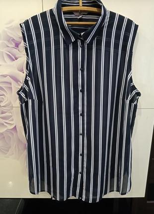 Стильная шифоновая рубашка, блуза, туника в полоску от h&m