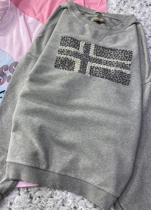 Меланжевый свитшот с объёмным логотипом napapijri