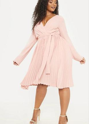 Нарядное платье миди 🔥prettylittlething🔥 плиссированное платье пудра