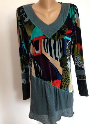 Комбинированная бархатная принтовая блузка /l/ kali orea