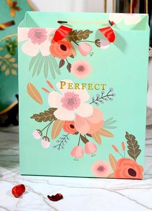 Мятный красивый пакет для подарков или хранения вещей