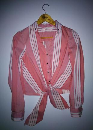 Укороченая рубашка в полоску /кроп топ/топ