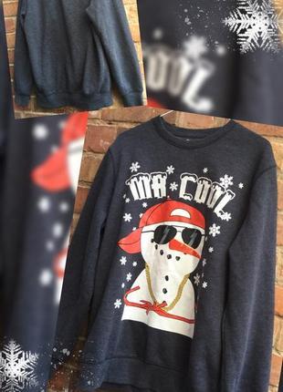 Прикольный новогодний джемпер свитер кофта толстовка от primark l