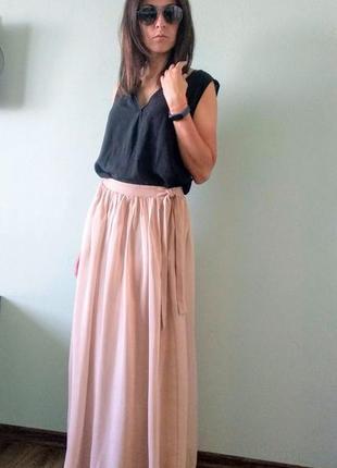Шифоновая юбка  massimo dutti p.m(38) цвета nude
