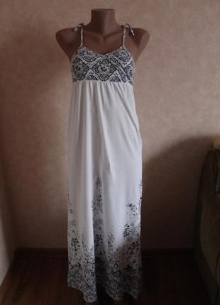Изумительное белое платье сарафан, длинное от h&m   хлопок