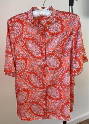 Блуза mango принт огурцы