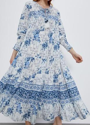 Новинка! длинное свободное платье в принт от zara хлопок