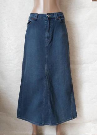 Фирменная marks & spenser  джинсовая юбка в пол/длинная в синем цвете, размер хл