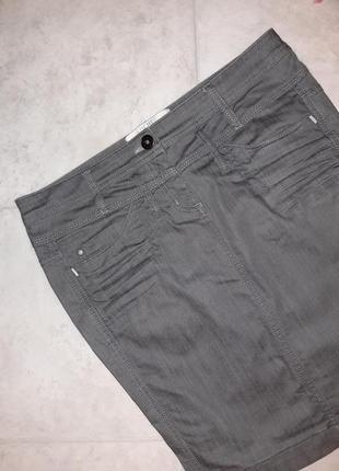 1+1=3 базовая серая зауженная джинсовая юбка-карандаш dept, размер 44 - 463 фото