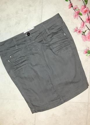 1+1=3 базовая серая зауженная джинсовая юбка-карандаш dept, размер 44 - 464 фото