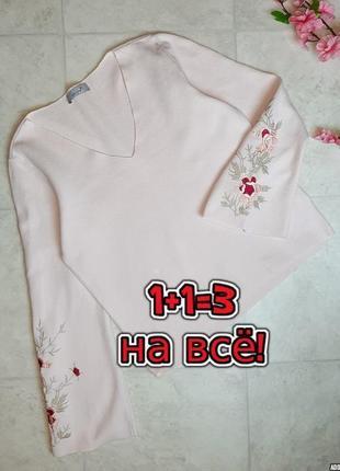 1+1=3 нежно-розовый плотный свитер marks&spencer с вышитыми рукавами, размер 46 - 48