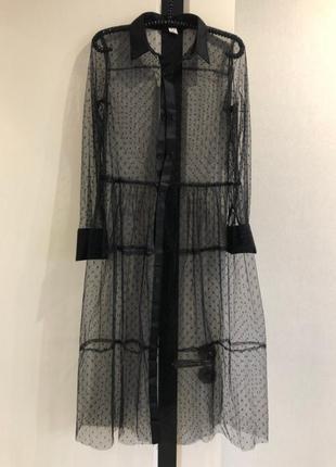 Стильное прозрачное платье сетка черное белое