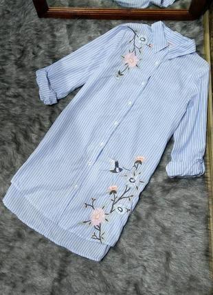 Sale платье рубашка в полоску с вышивкой из коттона/хлопка primark
