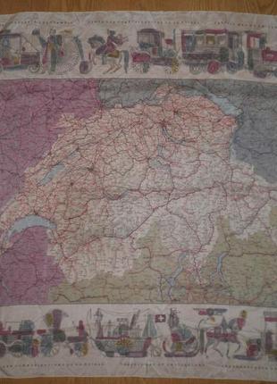 Нежный тонкий шелковый платок дорожная карта швейцарии 78х75 шов роуль качество