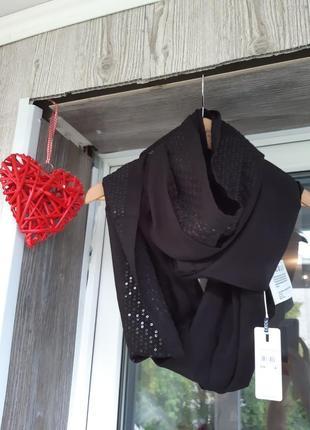 Красивий чорний хомут шарф легкий від cecil