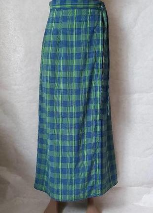 Фирменная sergio вискозная юбка в пол с имитацией на запах в клетку, размер л-ка