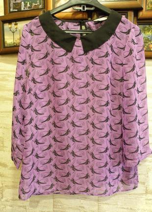 Сиреневая блузка шифон