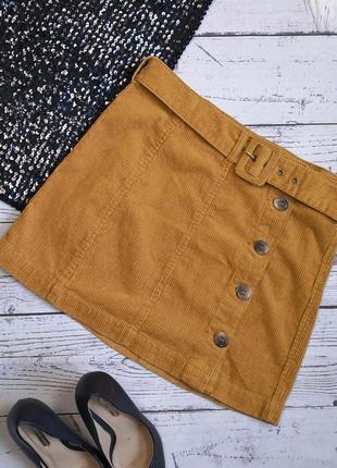 Новая горчичная вельветовая юбка с поясом