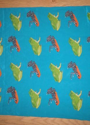 Яркий шарф плотный шёлк креп де шин лягушки vip company 140х36см италия