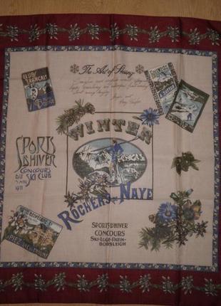 Стильный тёплый шерсть шёлк яркий шарф платок шаль rochers de nave 86х86см италия