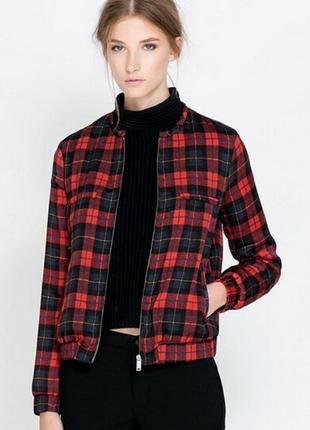 Стильный бомбер в красную клетку zara, new look, куртка, ветровка