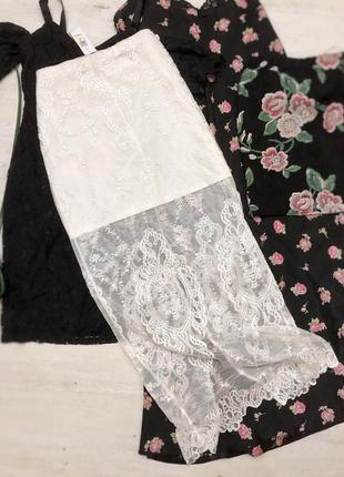 Макси юбка прозрачная с разрезом гипюр кружево тренд